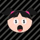 dollar, emoji, emoticon, eyes, face, girl, greedy, happy, money, women