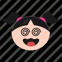 confused, dizzy, emoji, emoticon, face, girl, silly, women