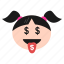 emoji, emoticon, face, girl, greedy, happy, money, mouth, women icon