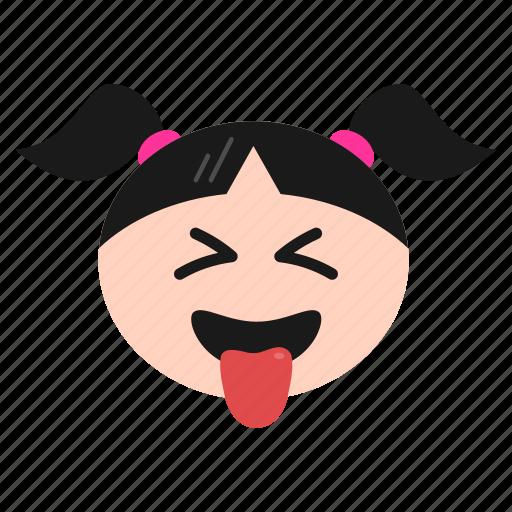 emoji, emoticon, face, girl, naughty, teasing, winking, women icon