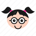cool, emoji, emoticon, face, girl, sunglasses, women icon