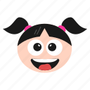 big, emoji, emoticon, face, girl, grin, happy, women icon