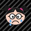 crying, emoji, emoticon, face, girl, sad, weeping, women icon