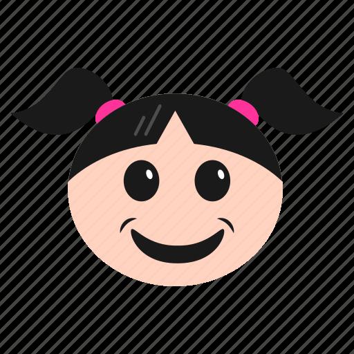 emoji, emoticon, face, girl, grinning, happy, joyful, women icon
