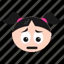 depressed, disappointed, emoji, emoticon, face, girl, sad, unamused, women icon