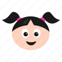 blushing, emoji, emoticon, face, girl, happy, laughing, women icon