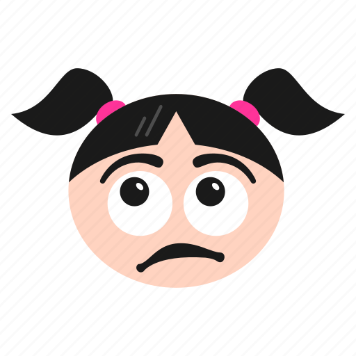 astonished, confused, emoji, emoticon, face, girl, hushed, surprised, women, wondering icon