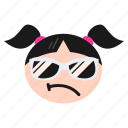 cool, emoji, emoticon, face, girl, happy, sunglasses, women