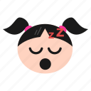 emoji, emoticon, face, girl, mouth, open, sleeping, snoring, women, zzz