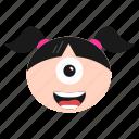 crazy, cyclops, emoji, emoticon, face, girl, laughing, women icon