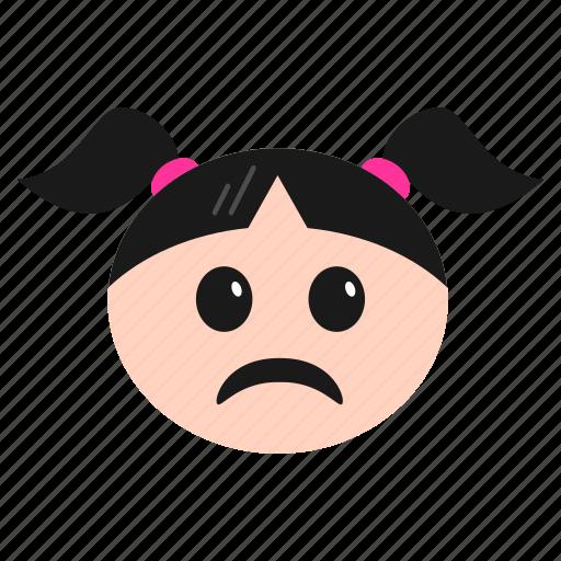 depressed, emoji, emoticon, face, girl, sad, women icon