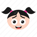 blushing, emoji, emoticon, face, girl, happy, laughing, women