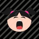 bored, emoji, emoticon, face, girl, sleepy, tired, women icon