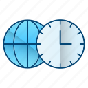 global business, time, watch, zones icon