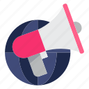 advertise, advertising, global, global business, megaphone, promotion icon