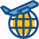 air delivery, air freight, globe, international shipping, plane icon