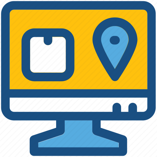 gps, monitor, online navigation, package, parcel tracking icon