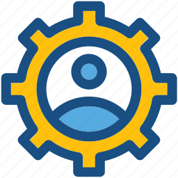 cog, man, management, profile setting, user icon