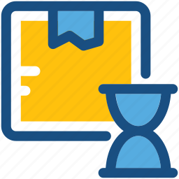 box, delivery time, hourglass, package, shipping time icon