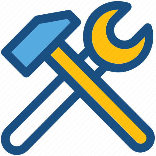 hammer, nail hammer, repair tools, screwdriver, wrench icon