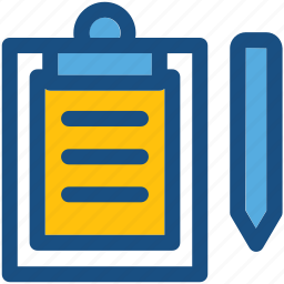 clipboard, document, form, pen, text sheet icon