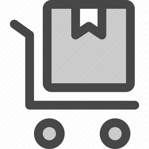 delivery, mail, package, post, shipment, shipping, trolly icon