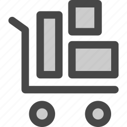 delivery, mail, packages, shipments, shipping, trolly icon