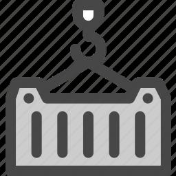 cargo, container, crane, harbor, logistics, port, shipping icon