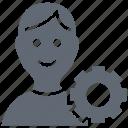 cog, man, management, profile setting, user icon