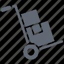 hand trolley, hand truck, luggage trolley, parcel, platform truck icon