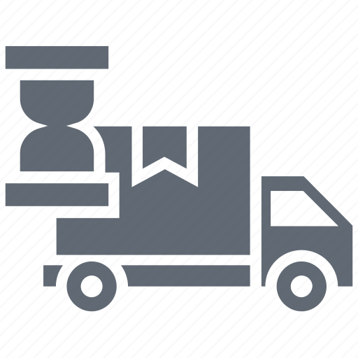 cargo, clock, delivery time, logistics, shipping time icon