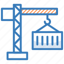 cargo container, container crane, freight container, logistics delivery, shipment icon