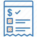 bill, cheque, payment, receipt, voucher icon