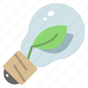 eco, ecology, electricity, environment, leaf, lightbulb, plant icon
