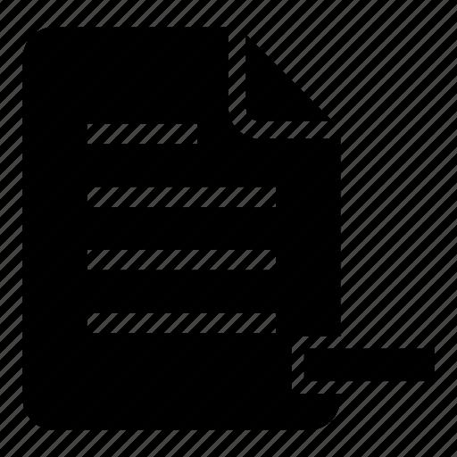 delete, document, drop, file, minus, page, remove icon