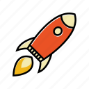 business, launch, rocket, ship, space, startup icon