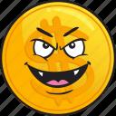 cartoon, coin, emoji, gold, metal, precious icon