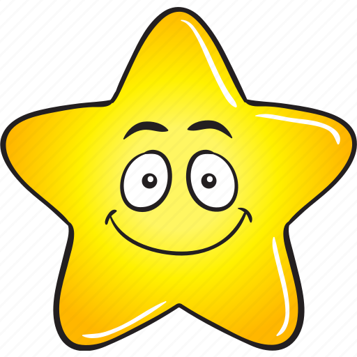 cartoon, emoji, gold, smiley, star icon