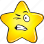 cartoon, emoji, gold, smiley, star icon