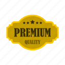 badge, banner, certificate, five, premium, quality, star icon