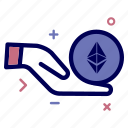 charity, crypto, currency, ethereum, ethereumcoin, hand, money icon
