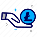 charity, crypto, currency, hand, lite, litecoin, money icon