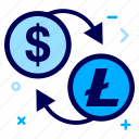 convert, crypto, currency, dollar, lite, litecoin, money icon