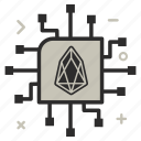 crypto, currency, eos, eoscoin, ic, money, network, processor icon