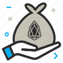 bag, charity, crypto, currency, eos, eoscoin, hand, money icon