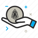 bag, charity, crypto, currency, eos, eoscoin, hand, help, money icon