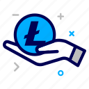 charity, crypto, currency, hand, help, lite, litecoin, money icon