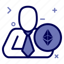 crypto, currency, ethereum, ethereumcoin, manager, money, user icon