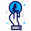 coin, crypto, currency, hand, lite, litecoin, money icon