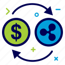 convert, crypto, currency, dollar, money, ripple, ripplecoin icon